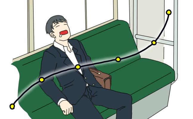 8. 電車で爆睡して降りられない。