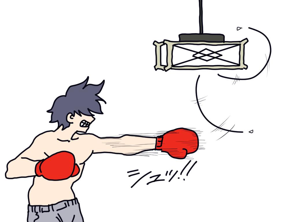 4. シャドーボクシングして電気の紐が上に引っ掛かる。