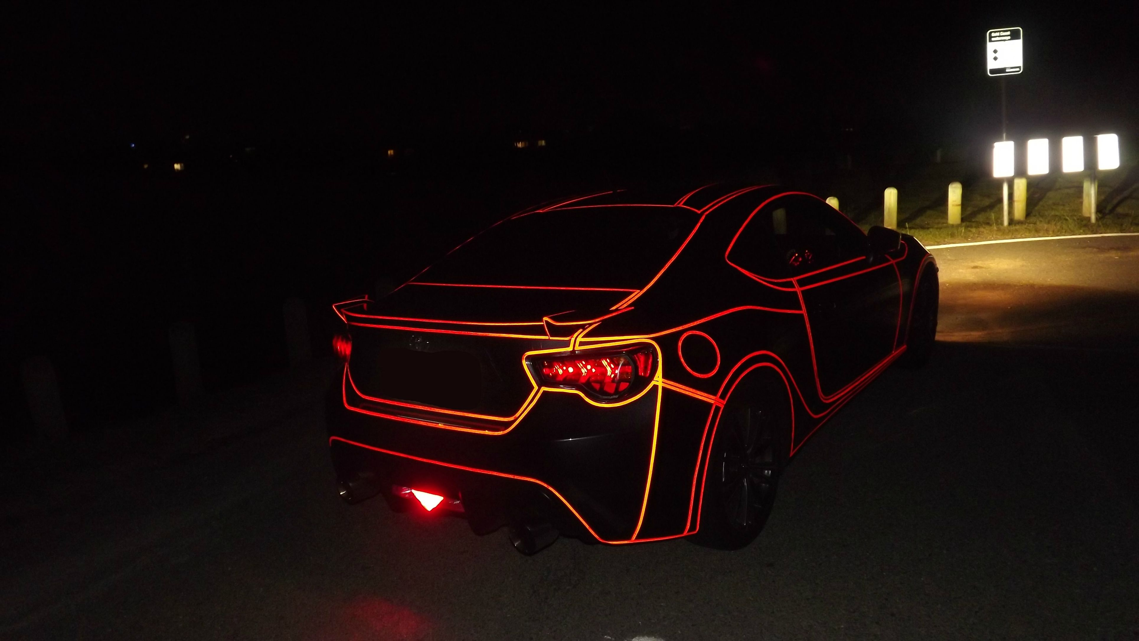 Glow In The Dark Red Car Paint