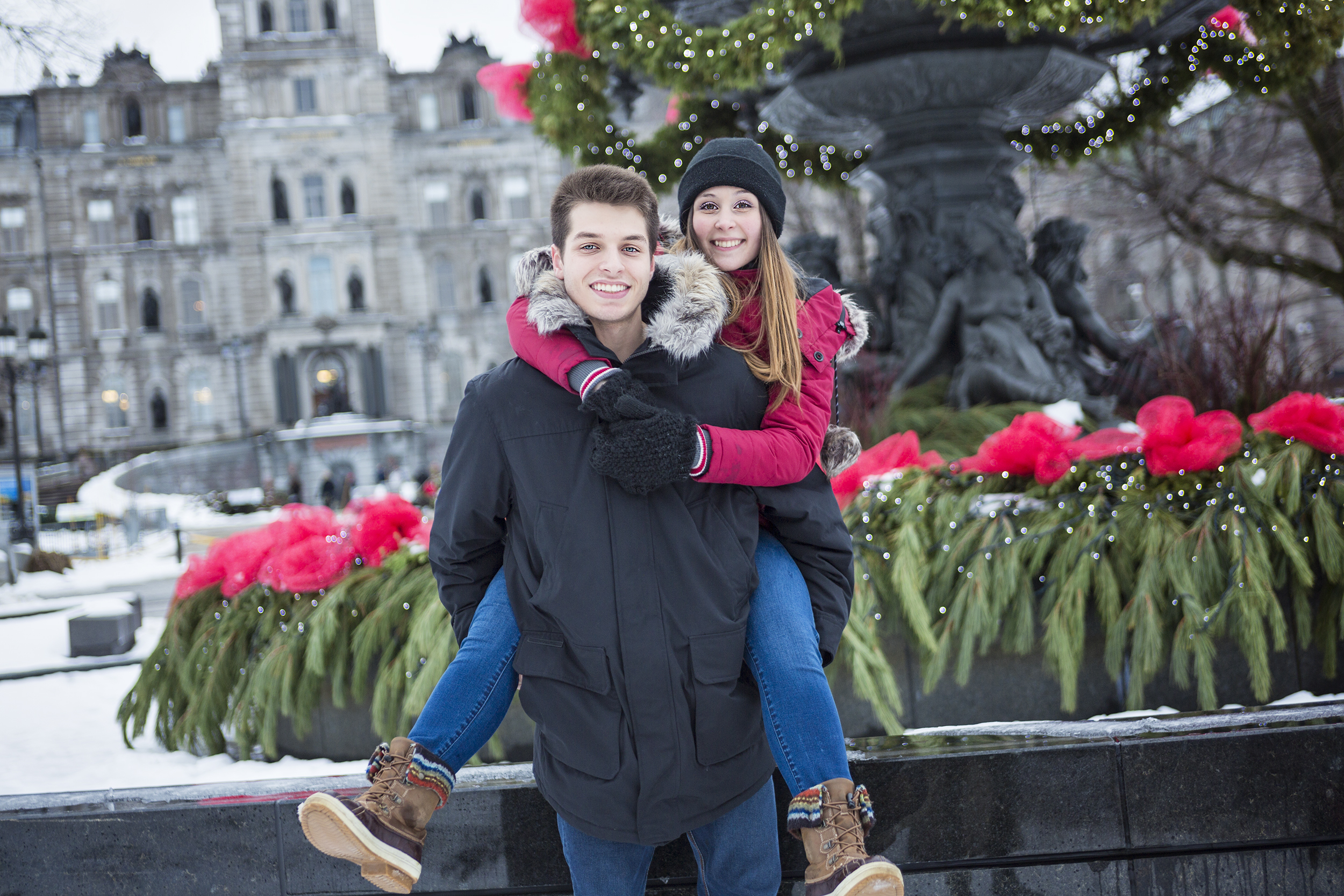 An Image of affectionate couple in park on winter season