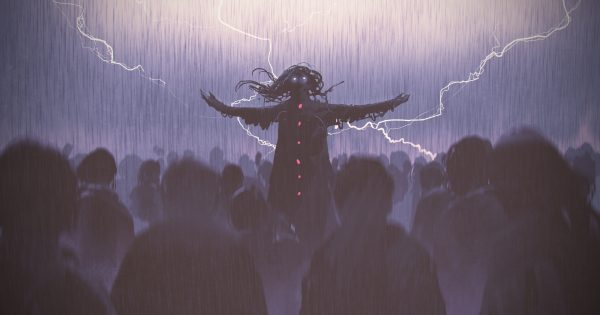 black wizard raising arms standing out from the crowd in the rain, digital art style, illustration painting