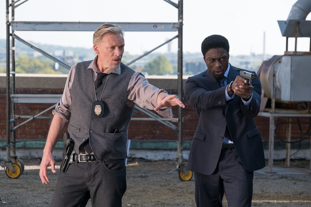 Halloran (Callum Keith Rennie, left) and Detective Keith (Clé Bennett, right) in JIGSAW.