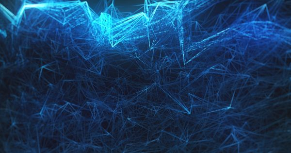 blue abstraction on a black background 3d render