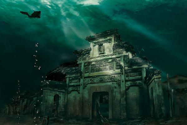 中国にある水中の城 獅城