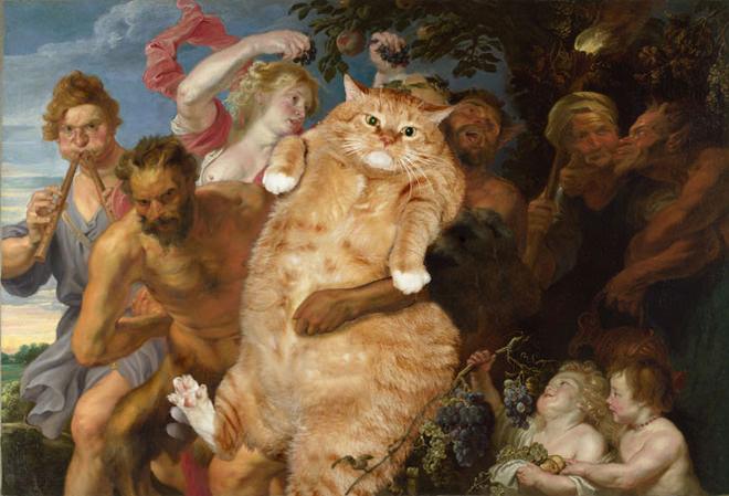 酔ったシーレーノスを抱えるサテュロスとネコ