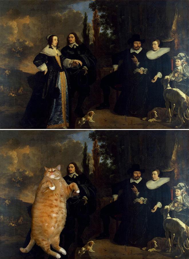 家族の肖像とネコ