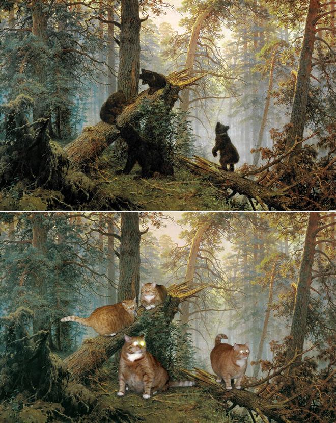 松林の朝とネコ