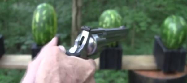 【銃の威力がよくわかる】マグナム銃でスイカを打ったらどうなるの?