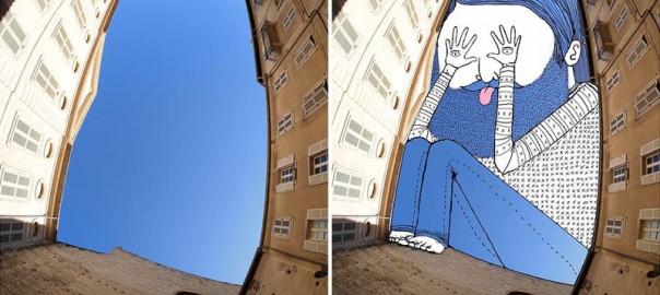 空がキャンバス!建物の間に現れた巨大アート