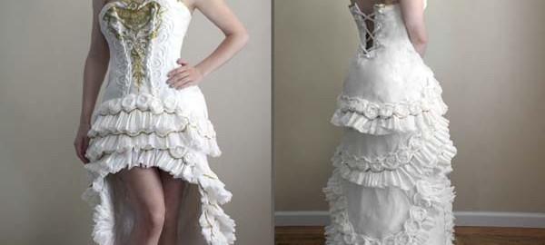 素敵なウェディングドレス、材料はまさかの日用品