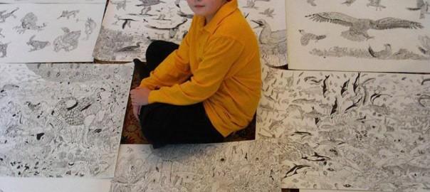 世界から取材殺到!11歳の「天才画家」が描く太古の世界がスゴすぎる
