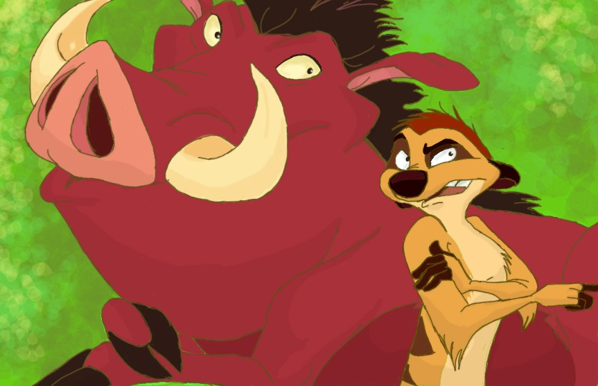Timon_and_Pumbaa_sketch_colour_by_Lauralyloo-934x