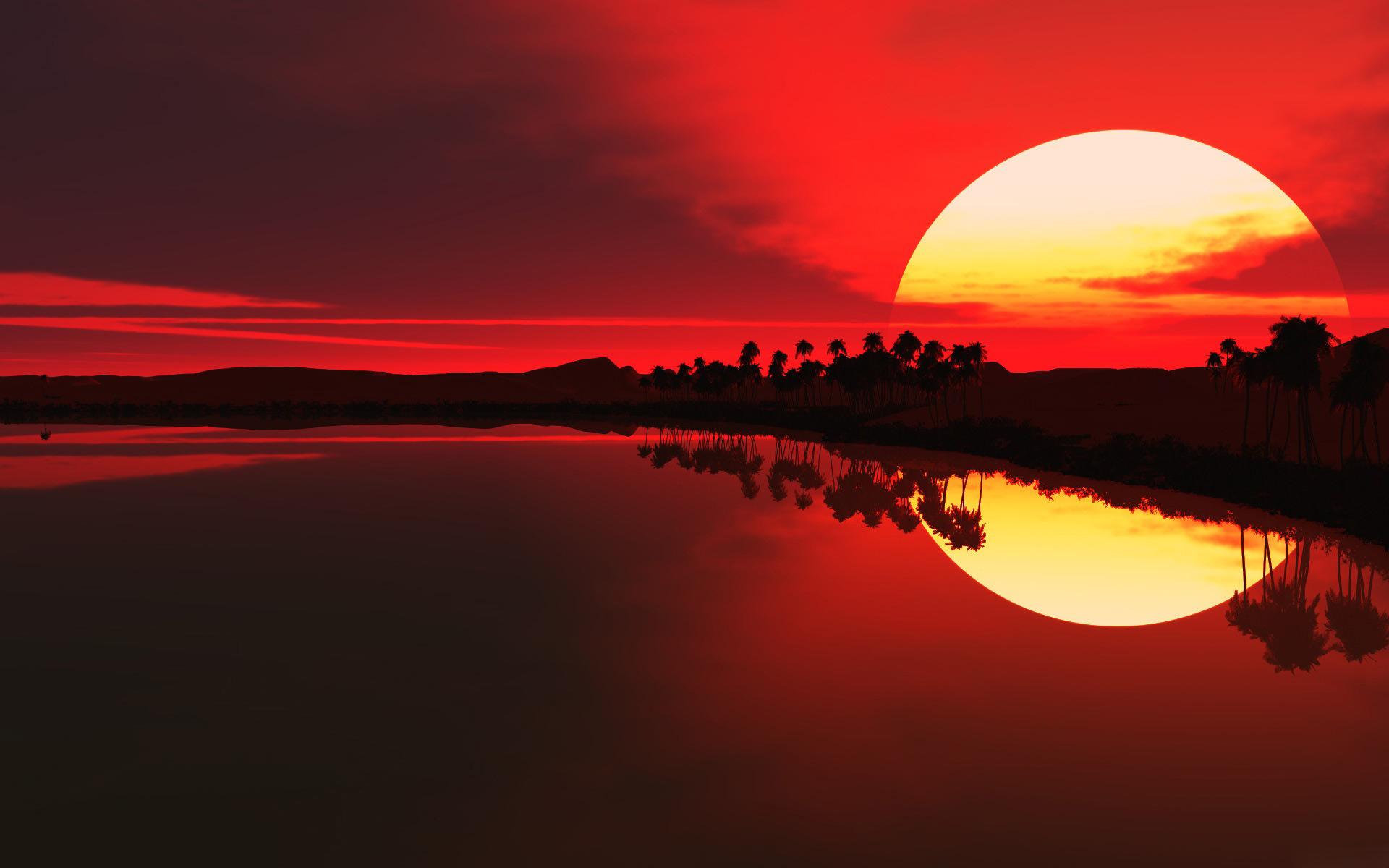 きれいな夕焼けと川