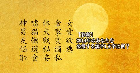 【診断】2014年のあなたを象徴する漢字1文字は何?