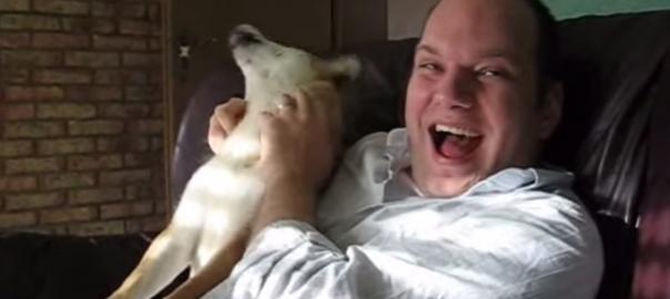 とっても幸せそう!外人さんの笑い声に反応して遠吠えする柴犬(1:30)