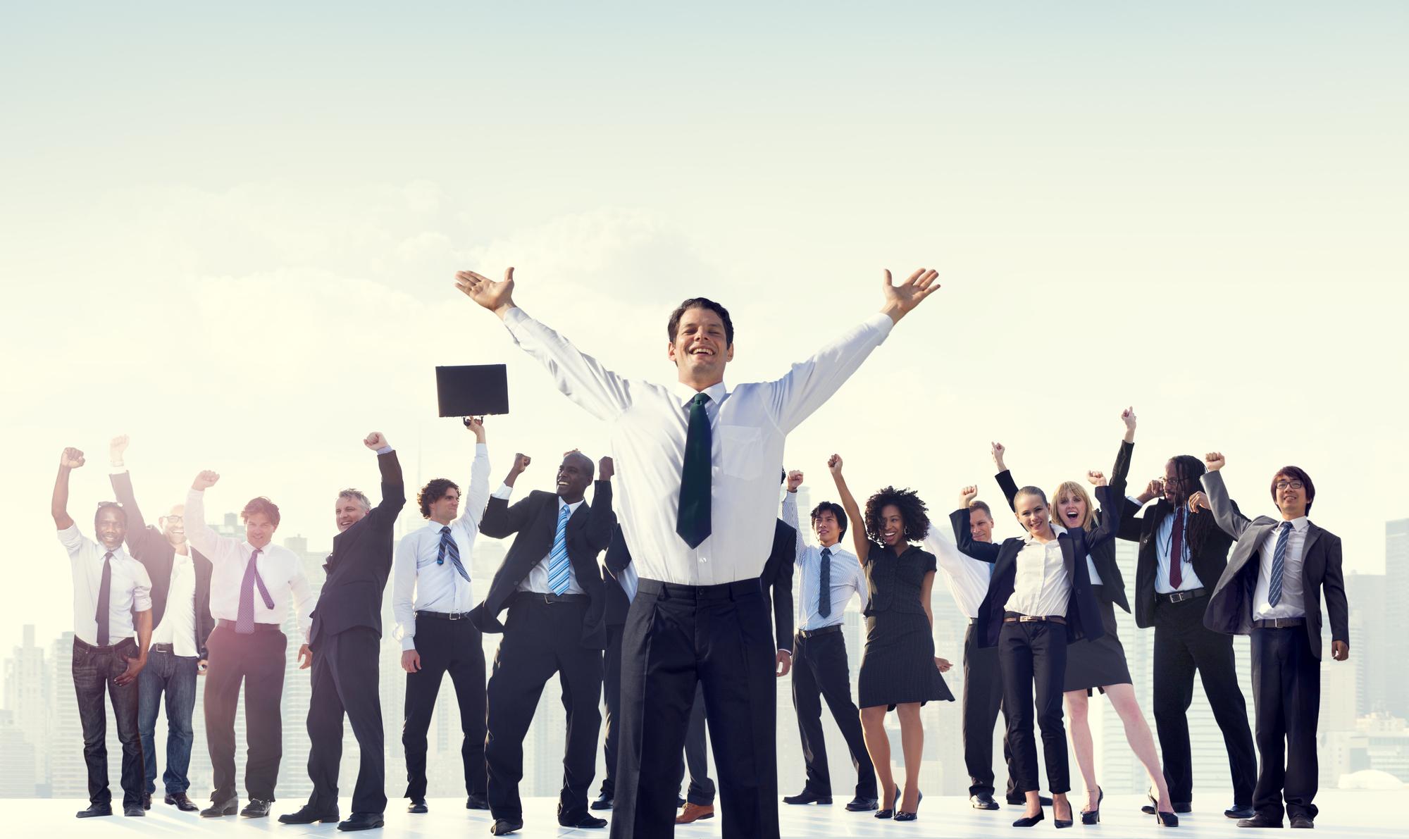 Business People Team Success Celebration Concept