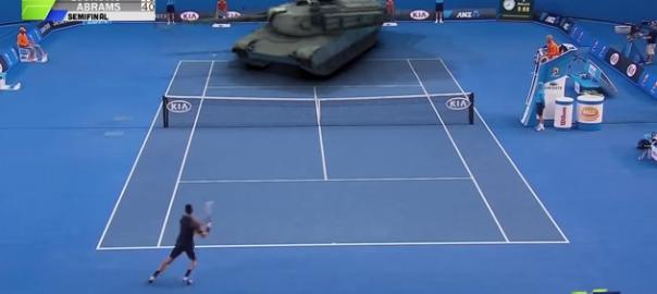 【ジョコビッチ VS 戦車】世界トップのテニス選手の凄さが素人にもよくわかる動画(0:57)
