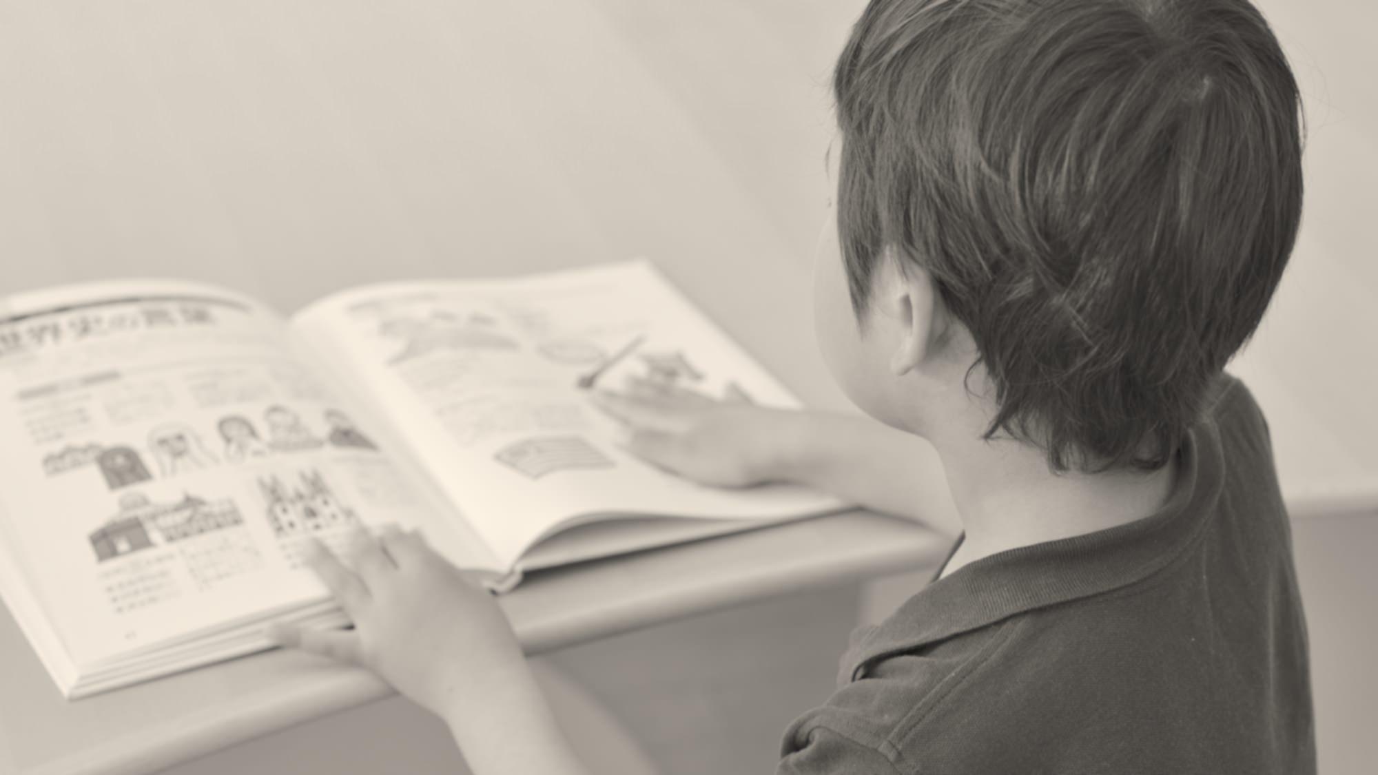 大きな本を読む少年