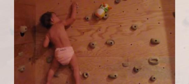トリック不使用!垂直の壁をスイスイ登る生後22ヶ月の天才クライマー(0:55)