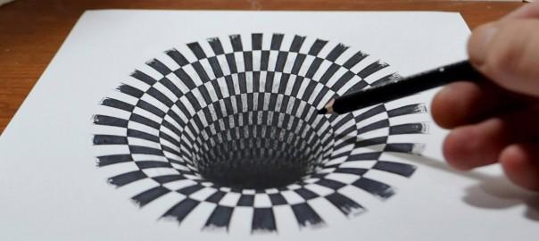 ペン1本で完成!中に吸い込まれそうな斬新なトリックアート