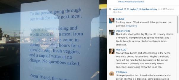 捨てられた食べ物を漁る人々に、心温まる貼り紙を出したレストラン