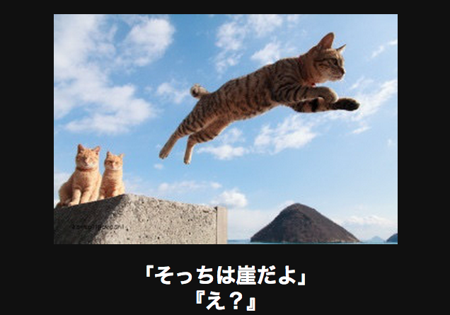 崖でジャンプ アメーバ大喜利
