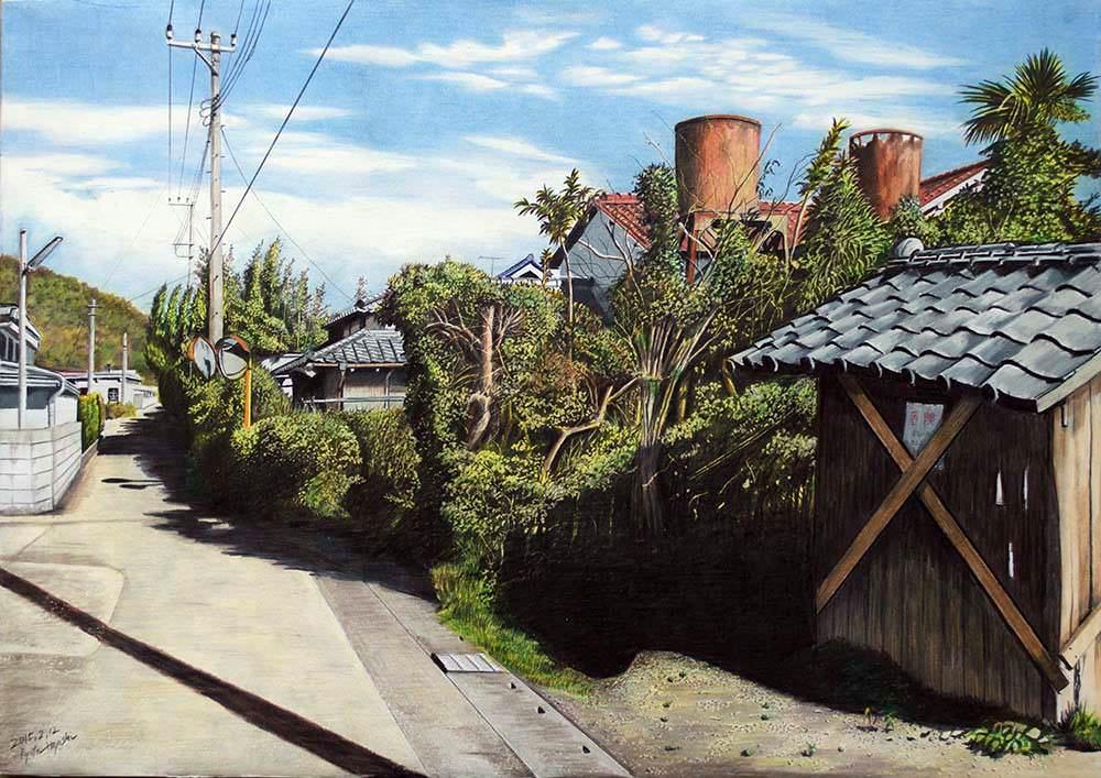 色鉛筆画家の林亮太の「古いタンクのある風景 南房総市岩井」の画像