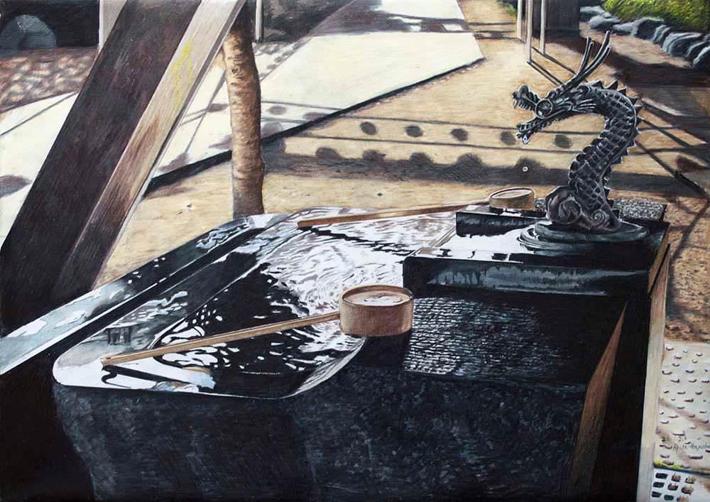 色鉛筆画家の林亮太の「水音 中野区新井」の画像