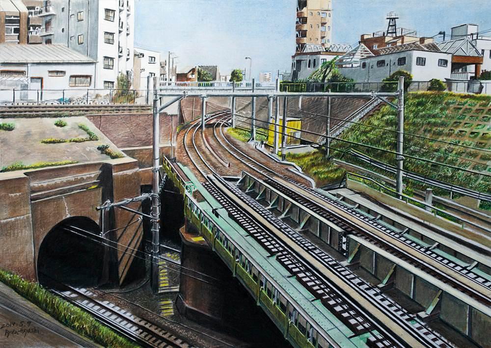 色鉛筆画家の林亮太の「Crossing Point 北区中里」の画像