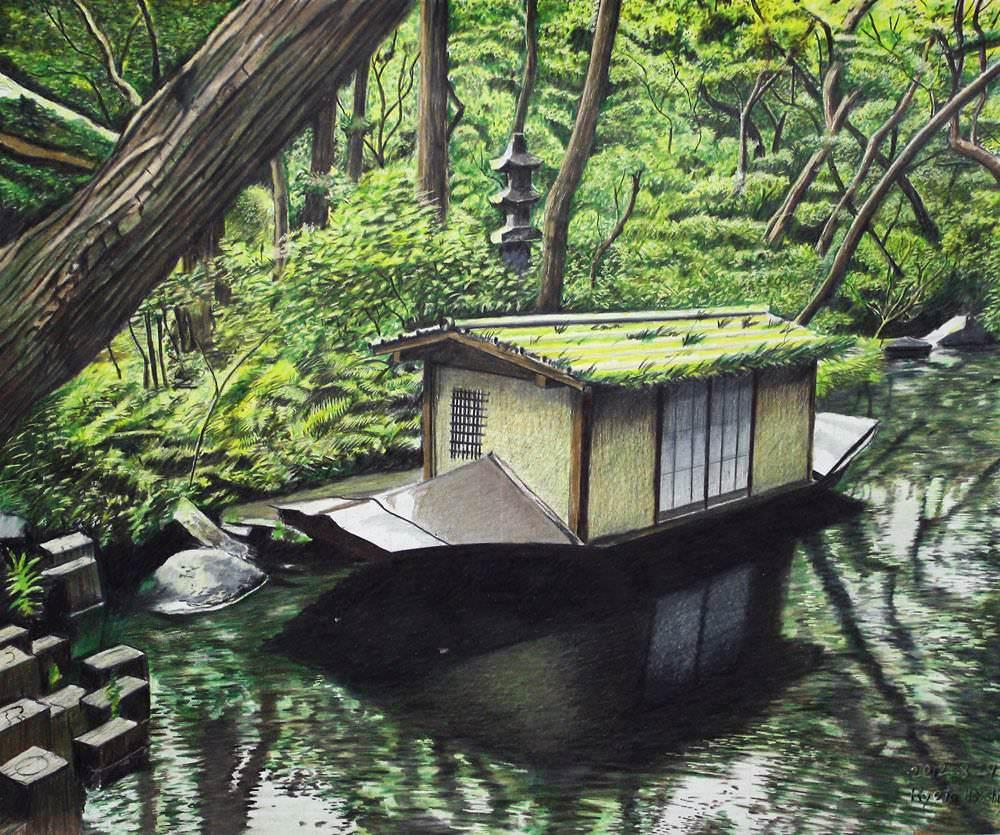 色鉛筆画家の林亮太の「木々と小舟 根津美術館庭園にて」の画像