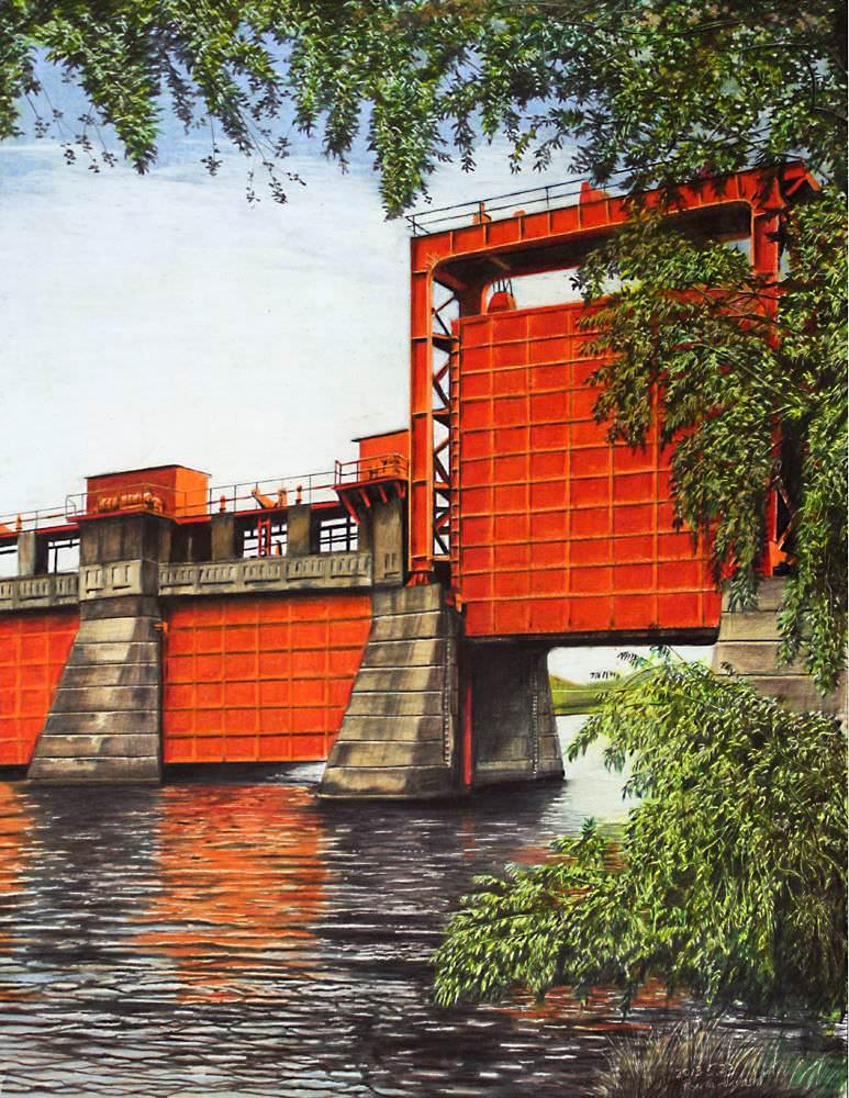色鉛筆画家の林亮太の「初夏の岩淵水門 北区志海風 藤沢市江の島