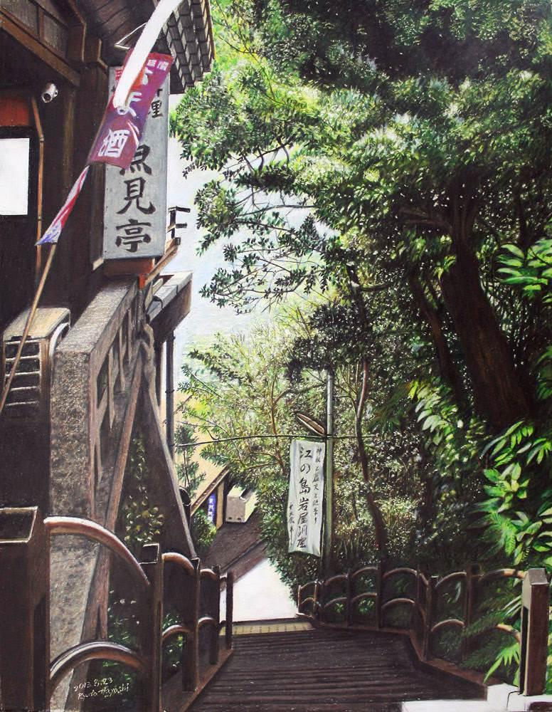 色鉛筆画家の林亮太の「街のお稲荷さん 中野区新井」の画像