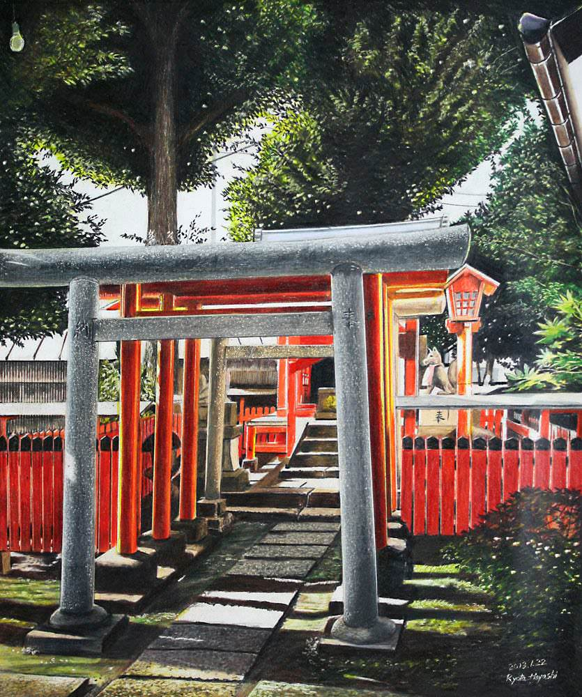 色鉛筆画家の林亮太の「春彩 板橋区赤塚 氷川神社」の画像