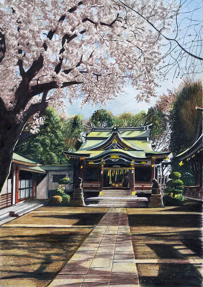 色鉛筆画家の林亮太の「石倉町延命地蔵 延命水 富山市」の画像