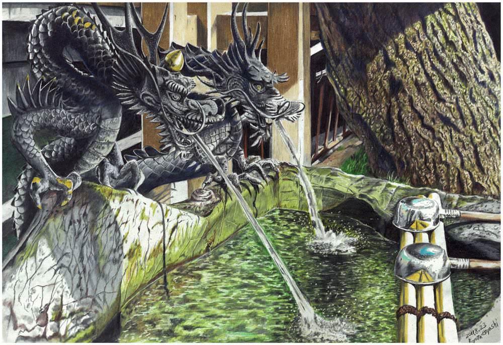 色鉛筆画家の林亮太の「桜橋 富山市松川」の画像」の画像