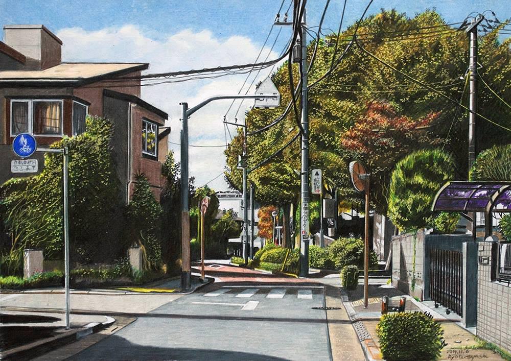 色鉛筆画家の林亮太の「青空見あげて 豊島区雑司が谷」の画像