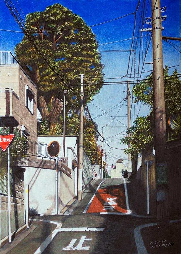 色鉛筆画家の林亮太の「都会の里山 板橋区赤塚」の画像
