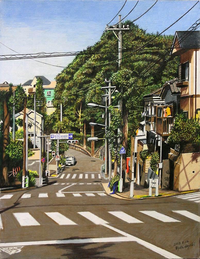 色鉛筆画家の林亮太の「緑の隧道 中野区白鷺」の画像