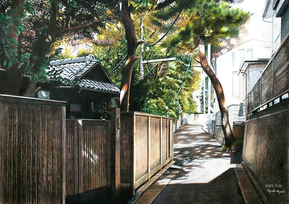 色鉛筆画家の林亮太の「静寂 新宿区内藤町」の画像