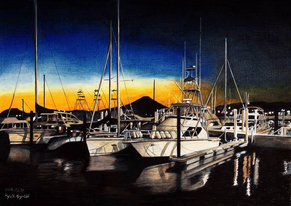 色鉛筆画家の林亮太の「残照 逗子市逗子マリーナ」の画像
