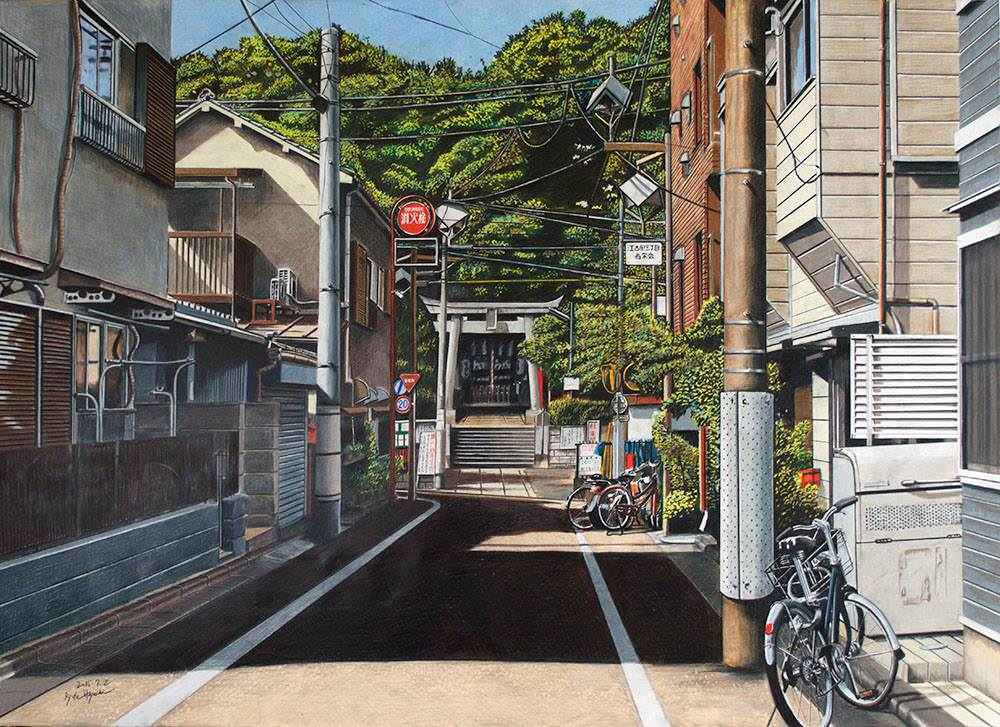 色鉛筆画家の林亮太の「いつもの参道 中野区江古田」の画像