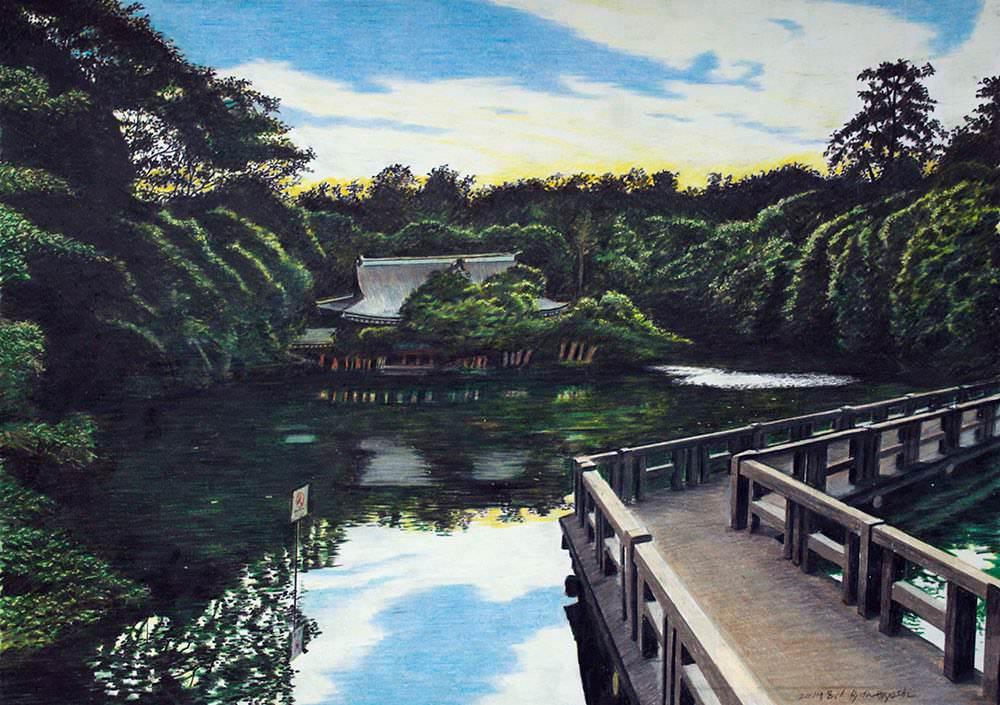 色鉛筆画家の林亮太の「入り日 三鷹市井の頭」の画像