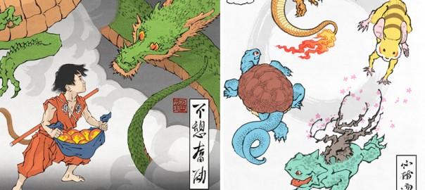 ドラゴンボールやポケモンが浮世絵に!海外のアート作品が風流すぎる(画像11枚)