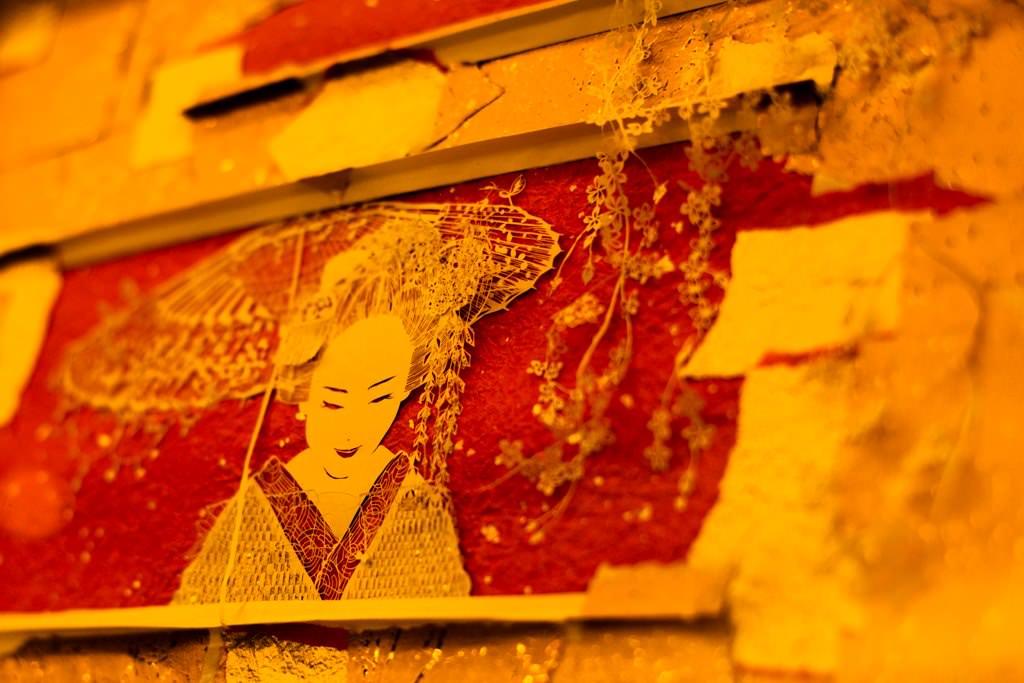 舞子桜の立体切り絵