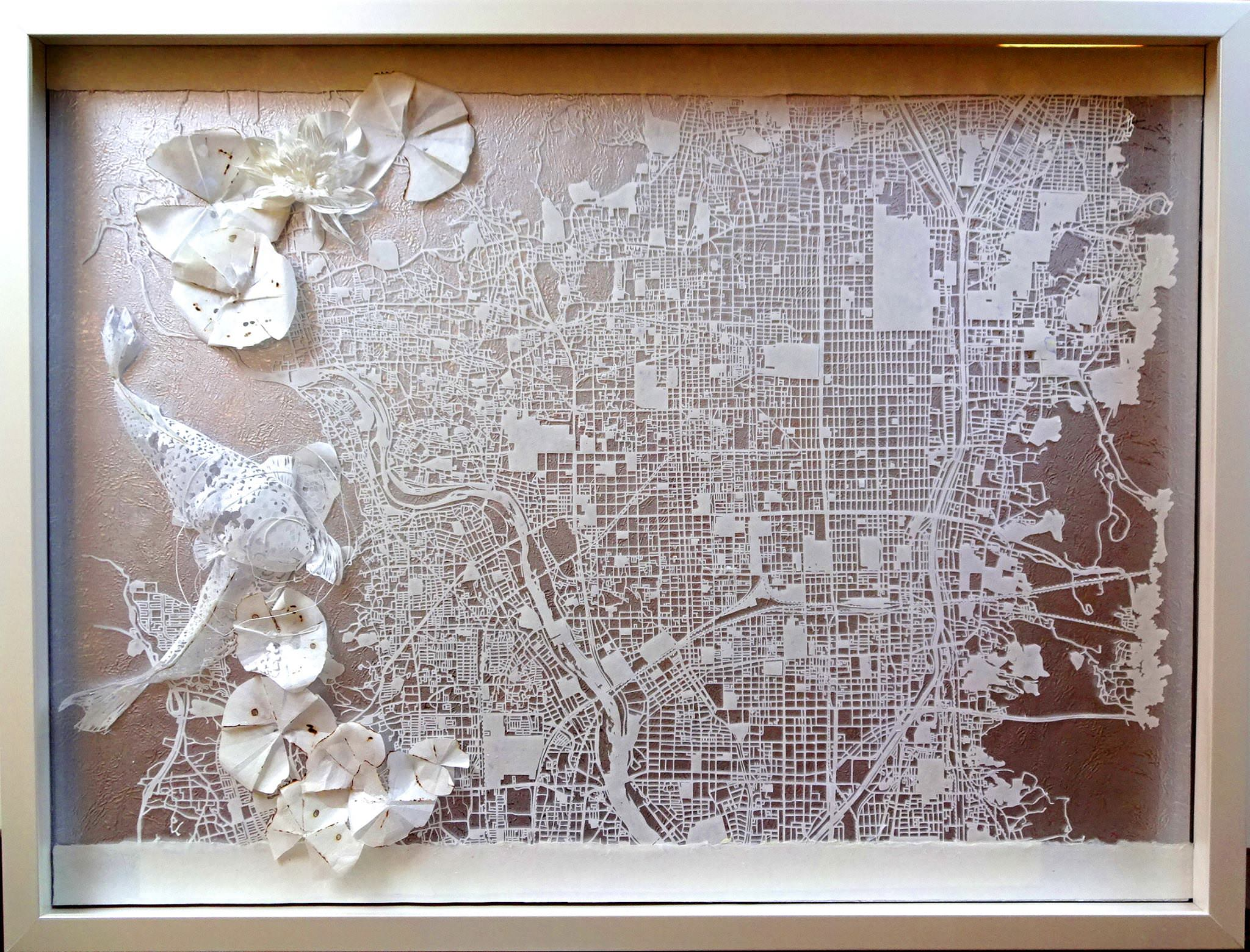 京都地図の立体切り絵