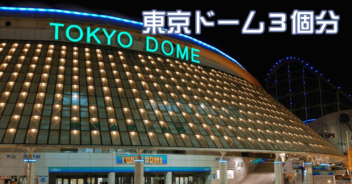 東京ドーム3個分