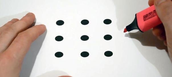 頭の柔らかい人しか解けない!9つの点を4本の直線で繋げる問題