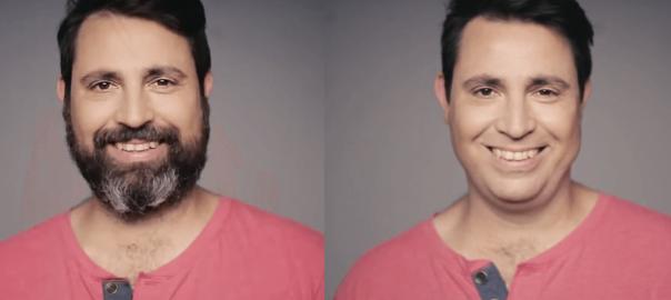 こっそり大変身!14年間ヒゲモジャだった男性がヒゲを剃った時の家族の反応