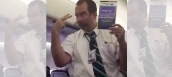 全然入ってこない(笑) 安全説明をする男性客室乗務員に爆笑
