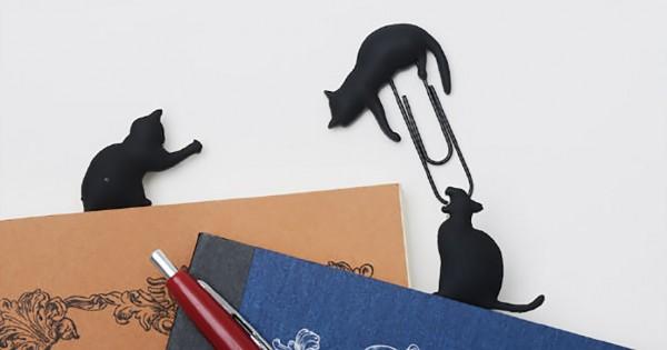 紙の上を黒猫が歩く♪ 遊び心溢れるクリップが可愛さ満点